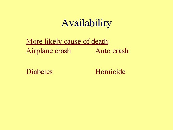 Availability More likely cause of death: Airplane crash Auto crash Diabetes Homicide