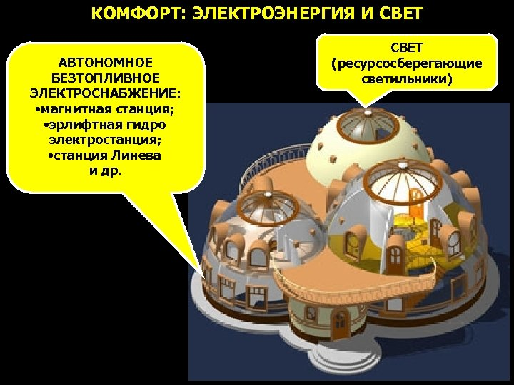 КОМФОРТ: ЭЛЕКТРОЭНЕРГИЯ И СВЕТ АВТОНОМНОЕ БЕЗТОПЛИВНОЕ ЭЛЕКТРОСНАБЖЕНИЕ: • магнитная станция; • эрлифтная гидро электростанция;