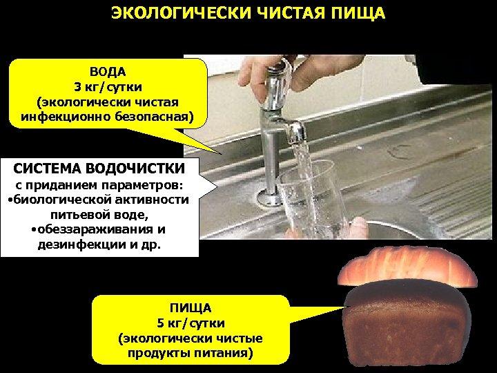 ЭКОЛОГИЧЕСКИ ЧИСТАЯ ПИЩА ВОДА 3 кг/сутки (экологически чистая инфекционно безопасная) СИСТЕМА ВОДОЧИСТКИ с приданием