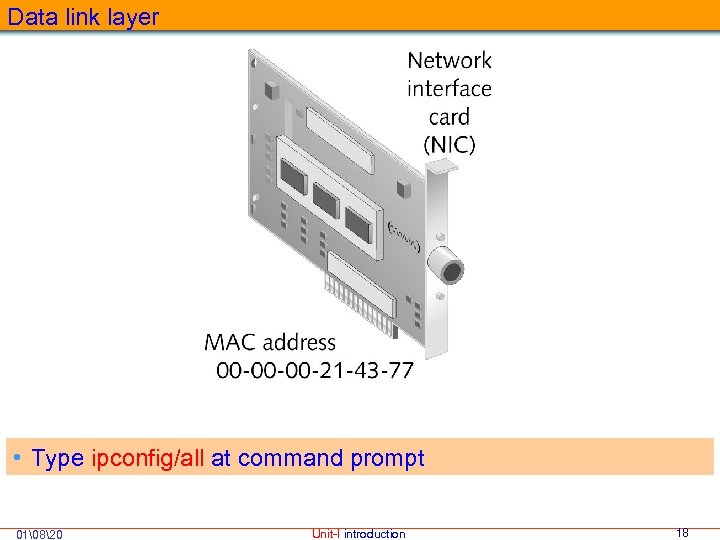 Data link layer • Type ipconfig/all at command prompt 01820 Unit-I introduction 18