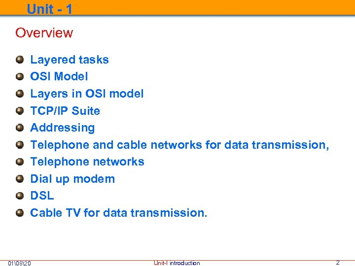 Unit - 1 Overview Layered tasks OSI Model Layers in OSI model TCP/IP