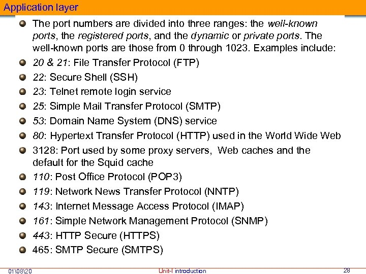 Application layer The port numbers are divided into three ranges: the well-known ports, the