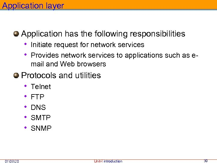 Application layer Application has the following responsibilities • Initiate request for network services •