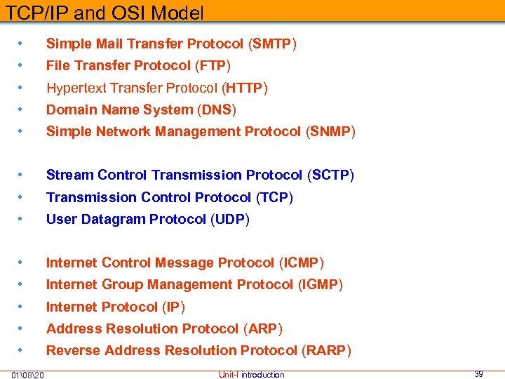 TCP/IP and OSI Model • Simple Mail Transfer Protocol (SMTP) • File Transfer Protocol