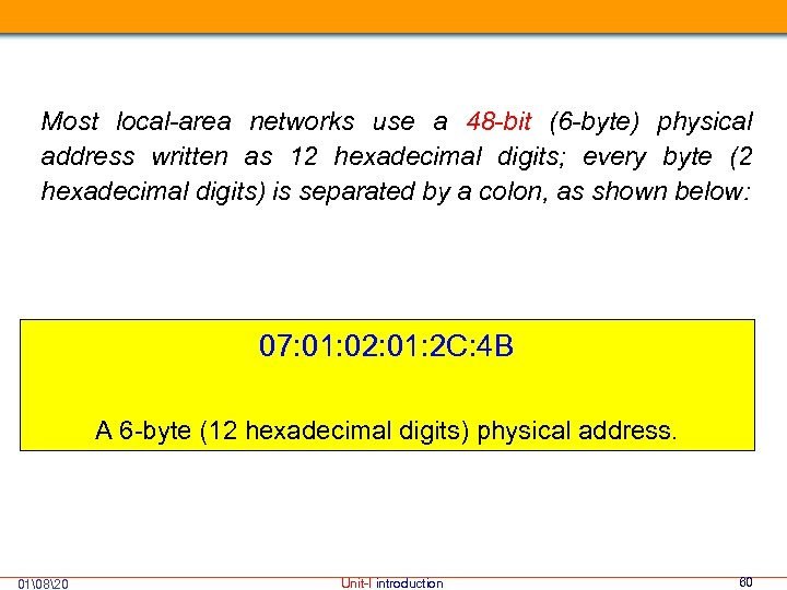 Most local-area networks use a 48 -bit (6 -byte) physical address written as 12