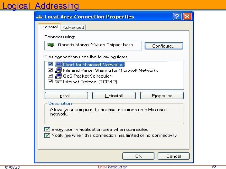 Logical Addressing 01820 Unit-I introduction 63