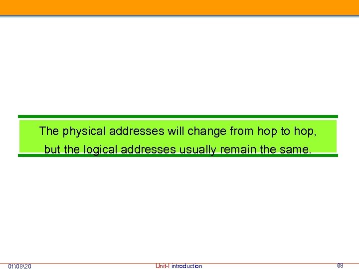 The physical addresses will change from hop to hop, but the logical addresses usually