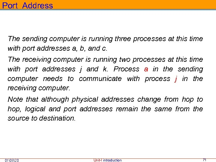 Port Address The sending computer is running three processes at this time with port