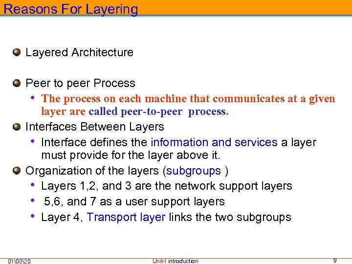 Reasons For Layering Layered Architecture Peer to peer Process • The process on each