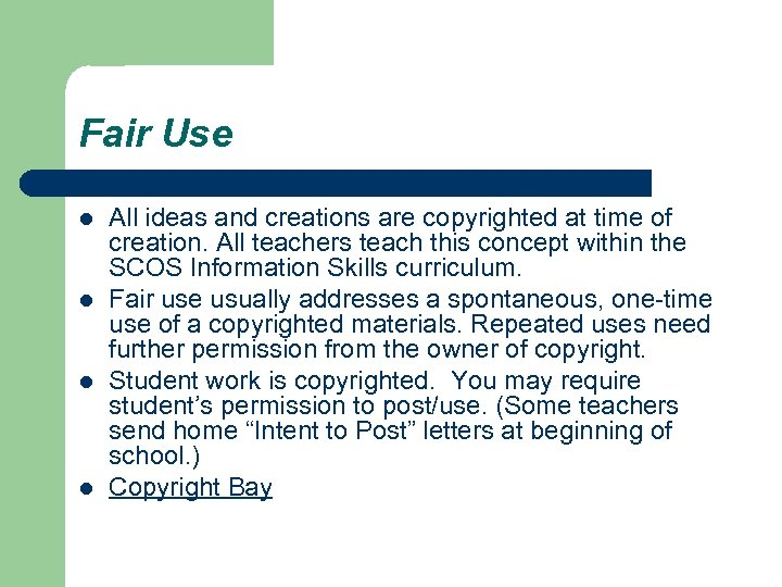 Fair Use l l All ideas and creations are copyrighted at time of creation.