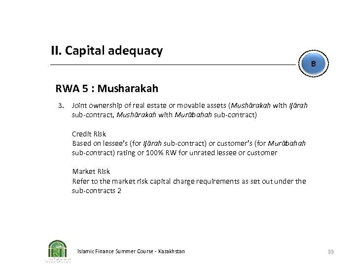II. Capital adequacy B RWA 5 : Musharakah 3. Joint ownership of real estate