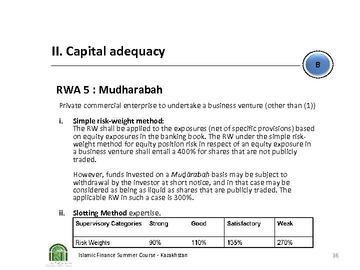 II. Capital adequacy B RWA 5 : Mudharabah Private commercial enterprise to undertake a