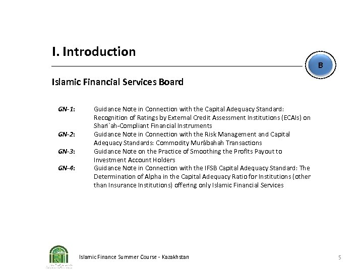 I. Introduction B Islamic Financial Services Board GN-1: GN-2: GN-3: GN-4: Guidance Note in