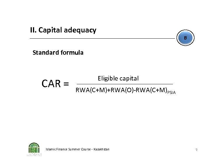II. Capital adequacy B Standard formula CAR = Eligible capital RWA(C+M)+RWA(O)-RWA(C+M)PSIA Islamic Finance Summer