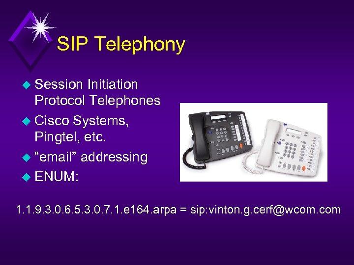 "SIP Telephony u Session Initiation Protocol Telephones u Cisco Systems, Pingtel, etc. u ""email"""