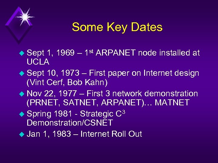Some Key Dates u Sept 1, 1969 – 1 st ARPANET node installed at