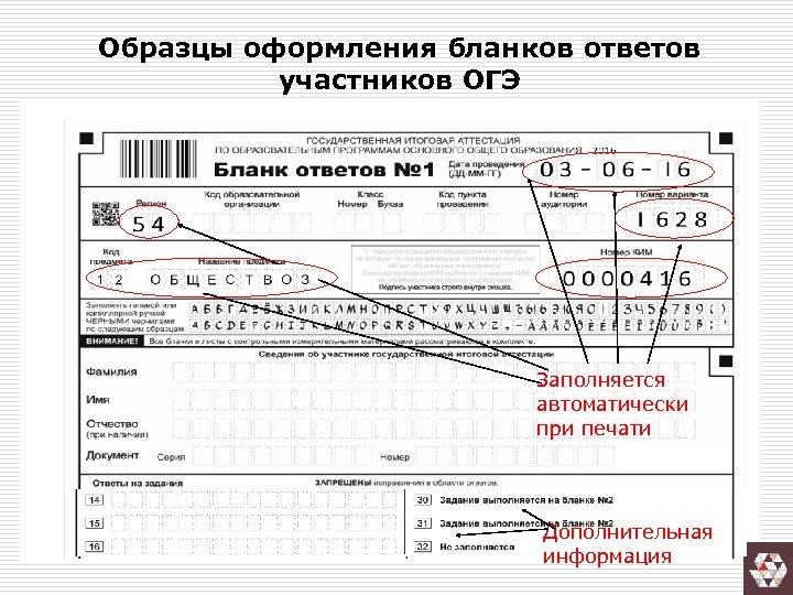 Образцы оформления бланков ответов участников ОГЭ Заполняется автоматически при печати Дополнительная информация
