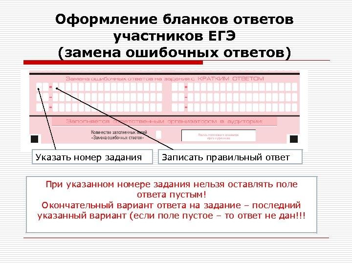 Оформление бланков ответов участников ЕГЭ (замена ошибочных ответов) Указать номер задания Записать правильный ответ