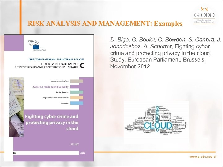 RISK ANALYSIS AND MANAGEMENT: Examples D. Bigo, G. Boulet, C. Bowden, S. Carrera, J.