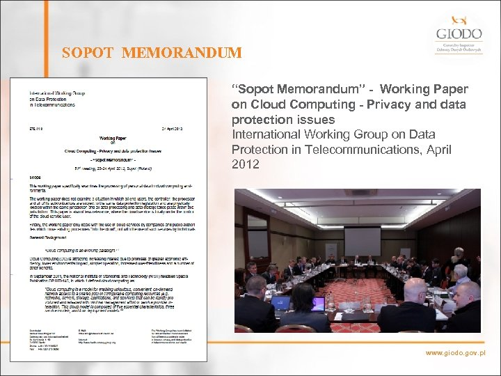 """SOPOT MEMORANDUM """"Sopot Memorandum"""" - Working Paper on Cloud Computing - Privacy and data"""