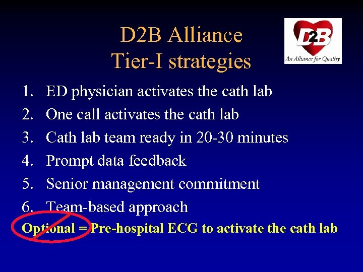 D 2 B Alliance Tier-I strategies 1. 2. 3. 4. 5. 6. ED physician