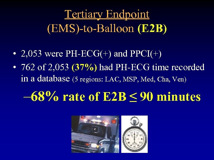 Tertiary Endpoint (EMS)-to-Balloon (E 2 B) • 2, 053 were PH-ECG(+) and PPCI(+) •