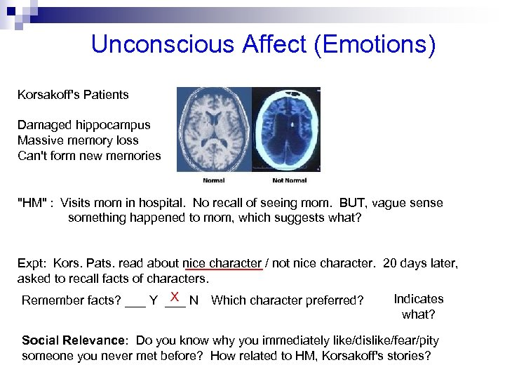 Unconscious Affect (Emotions) Korsakoff's Patients Damaged hippocampus Massive memory loss Can't form new memories