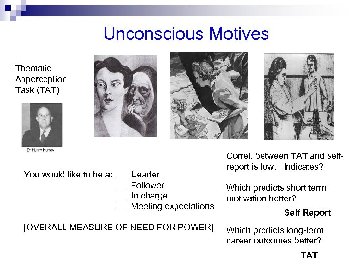 Unconscious Motives Thematic Apperception Task (TAT) You would like to be a: ___ Leader