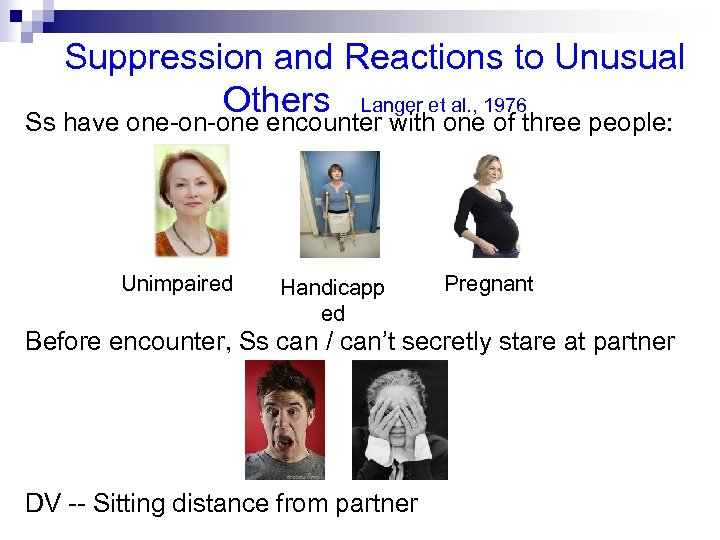 Suppression and Reactions to Unusual Others Langer et al. , 1976 Ss have one-on-one