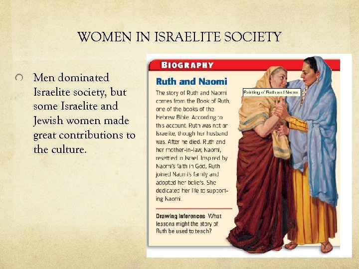WOMEN IN ISRAELITE SOCIETY Men dominated Israelite society, but some Israelite and Jewish women