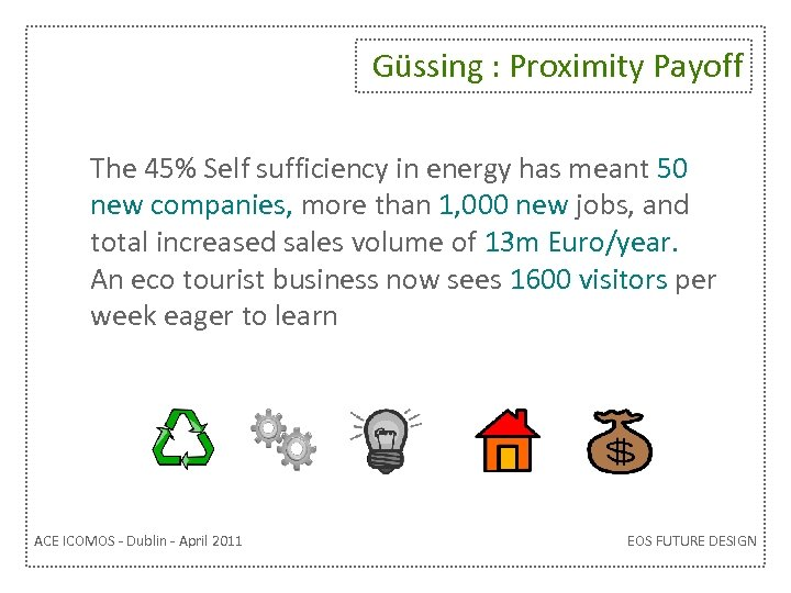 Güssing : Proximity Payoff The 45% Self sufficiency in energy has meant 50 new