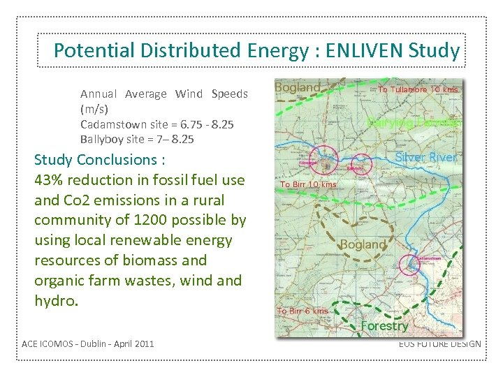 Potential Distributed Energy : ENLIVEN Study Annual Average Wind Speeds (m/s) Cadamstown site =