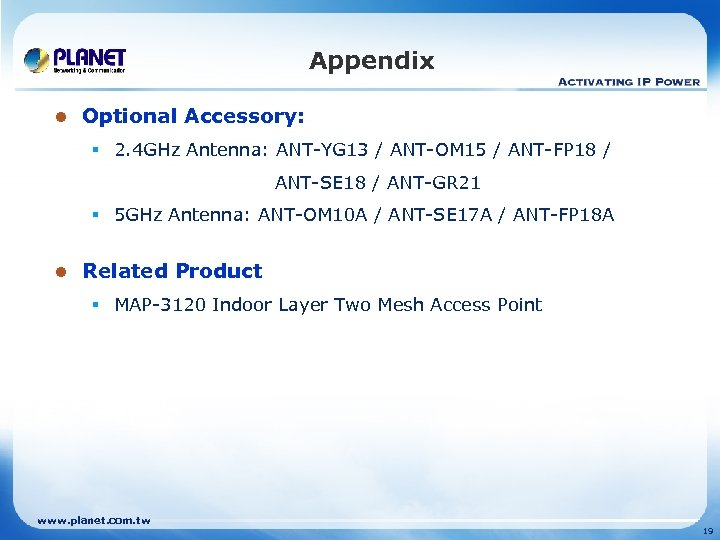 Appendix l Optional Accessory: § 2. 4 GHz Antenna: ANT-YG 13 / ANT-OM 15