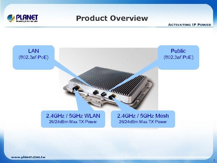 Product Overview LAN Public (802. 3 af Po. E) 2. 4 GHz / 5