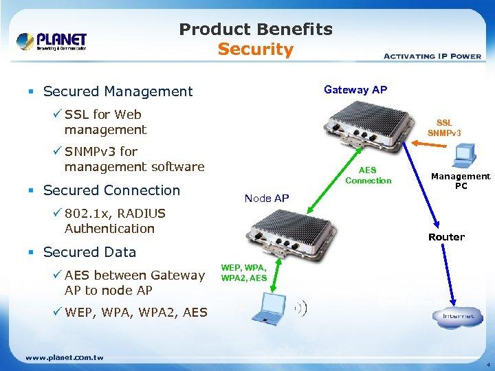 Product Benefits Security § Secured Management Gateway AP ü SSL for Web management SSL