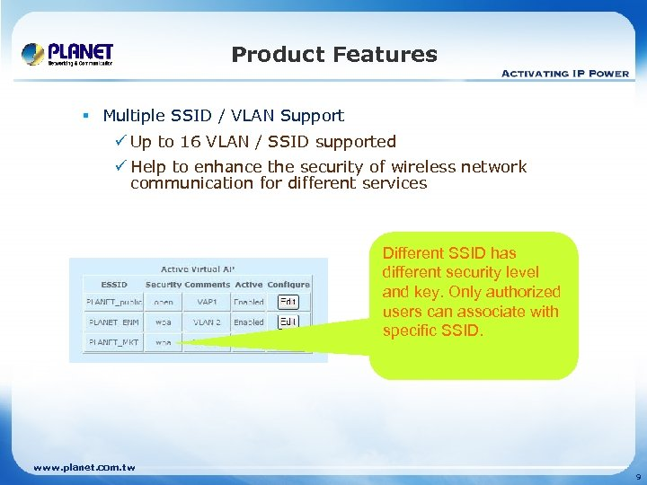 Product Features § Multiple SSID / VLAN Support ü Up to 16 VLAN /