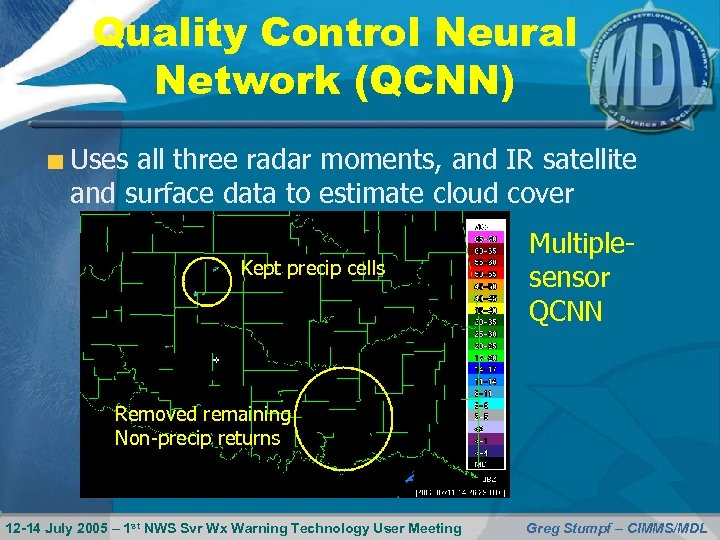 Quality Control Neural Network (QCNN) Uses all three radar moments, and IR satellite and