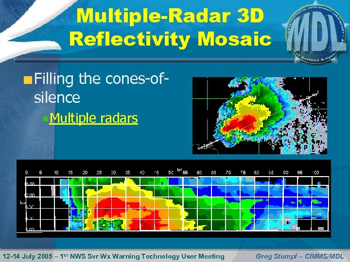 Multiple-Radar 3 D Reflectivity Mosaic Filling the cones-ofsilence Multiple radars 12 -14 July 2005
