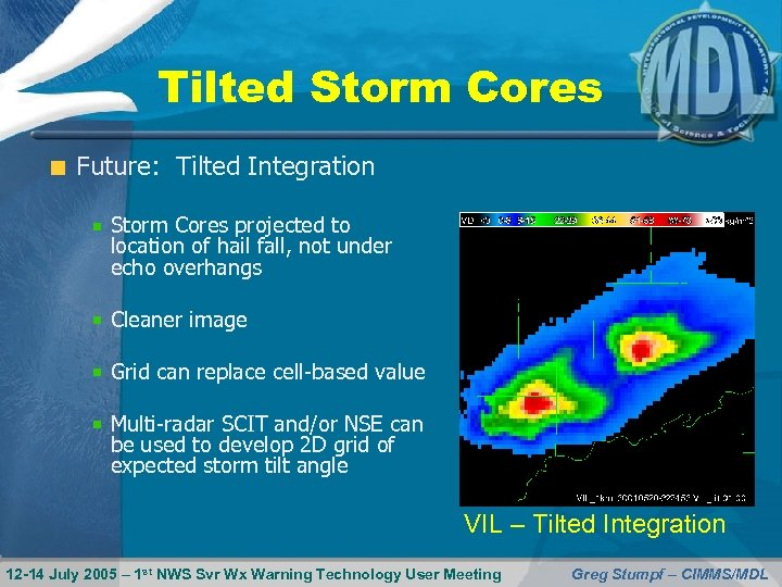 Tilted Storm Cores Future: Tilted Integration Storm Cores projected to location of hail fall,