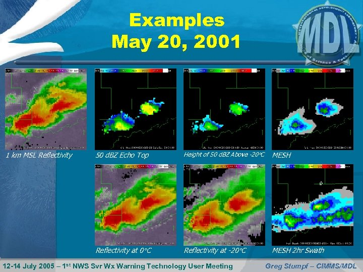 Examples May 20, 2001 1 km MSL Reflectivity 50 d. BZ Echo Top Height