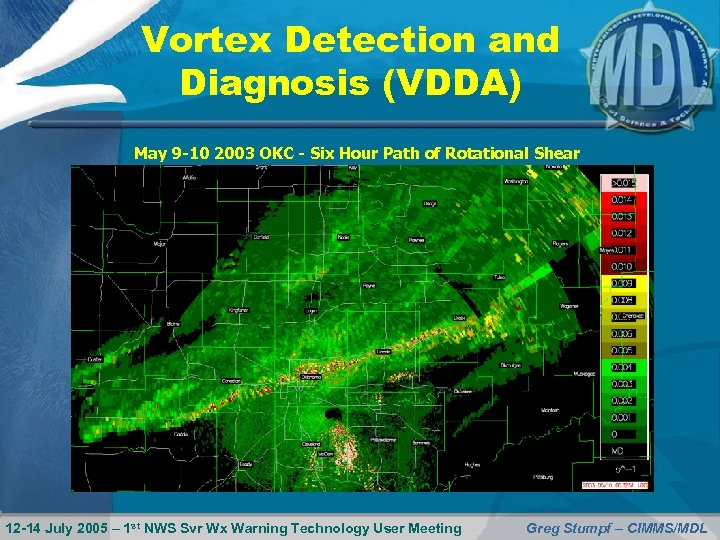 Vortex Detection and Diagnosis (VDDA) May 9 -10 2003 OKC - Six Hour Path