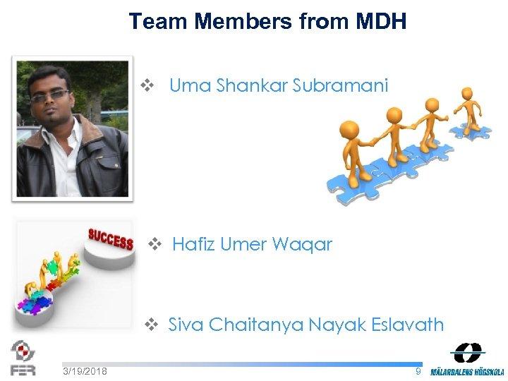 Team Members from MDH v Uma Shankar Subramani v Hafiz Umer Waqar v Siva