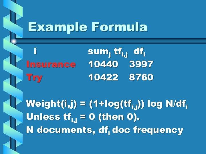 Example Formula i Insurance Try sumj tfi, j dfi 10440 3997 10422 8760 Weight(i,