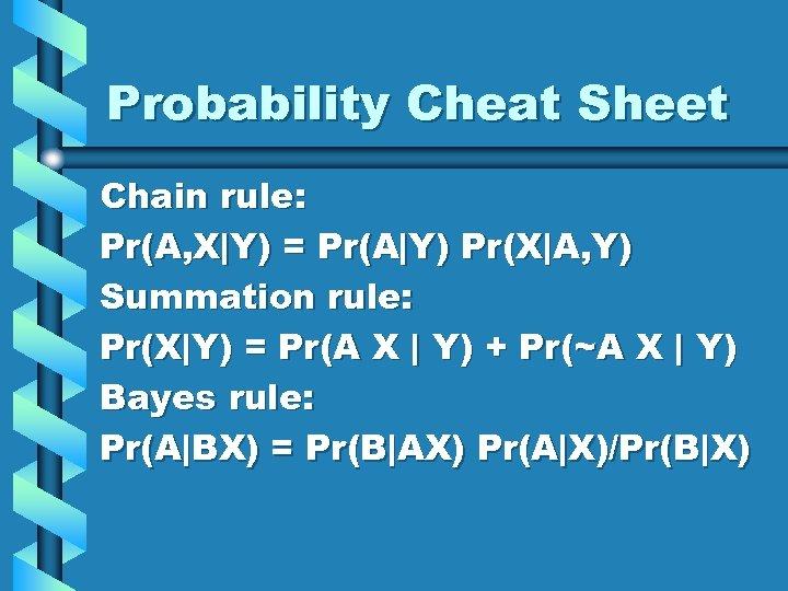 Probability Cheat Sheet Chain rule: Pr(A, X Y) = Pr(A Y) Pr(X A, Y) Summation rule: Pr(X Y)