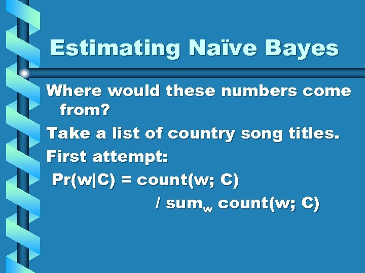 Estimating Naïve Bayes Where would these numbers come from? Take a list of country