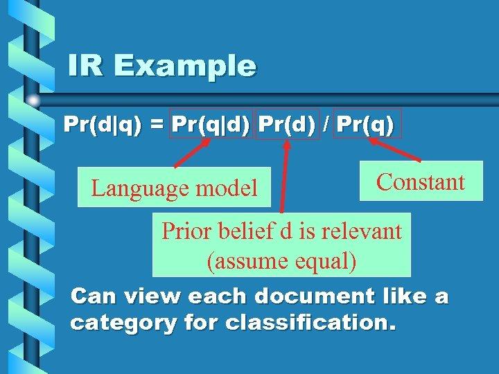 IR Example Pr(d q) = Pr(q d) Pr(d) / Pr(q) Language model Constant Prior belief d