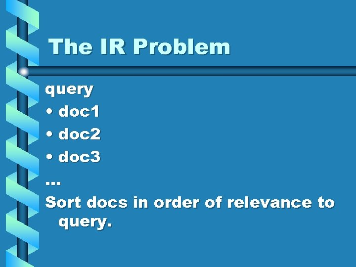 The IR Problem query • doc 1 • doc 2 • doc 3. .