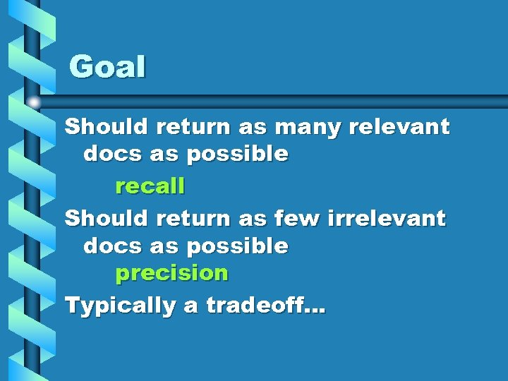 Goal Should return as many relevant docs as possible recall Should return as few