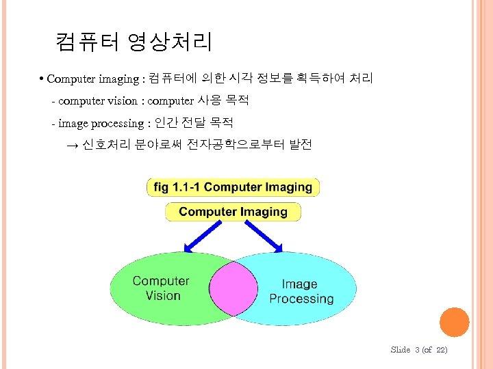 컴퓨터 영상처리 • Computer imaging : 컴퓨터에 의한 시각 정보를 획득하여 처리 - computer