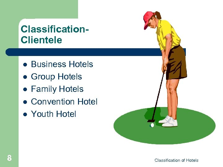 Classification. Clientele l l l 8 Business Hotels Group Hotels Family Hotels Convention Hotel